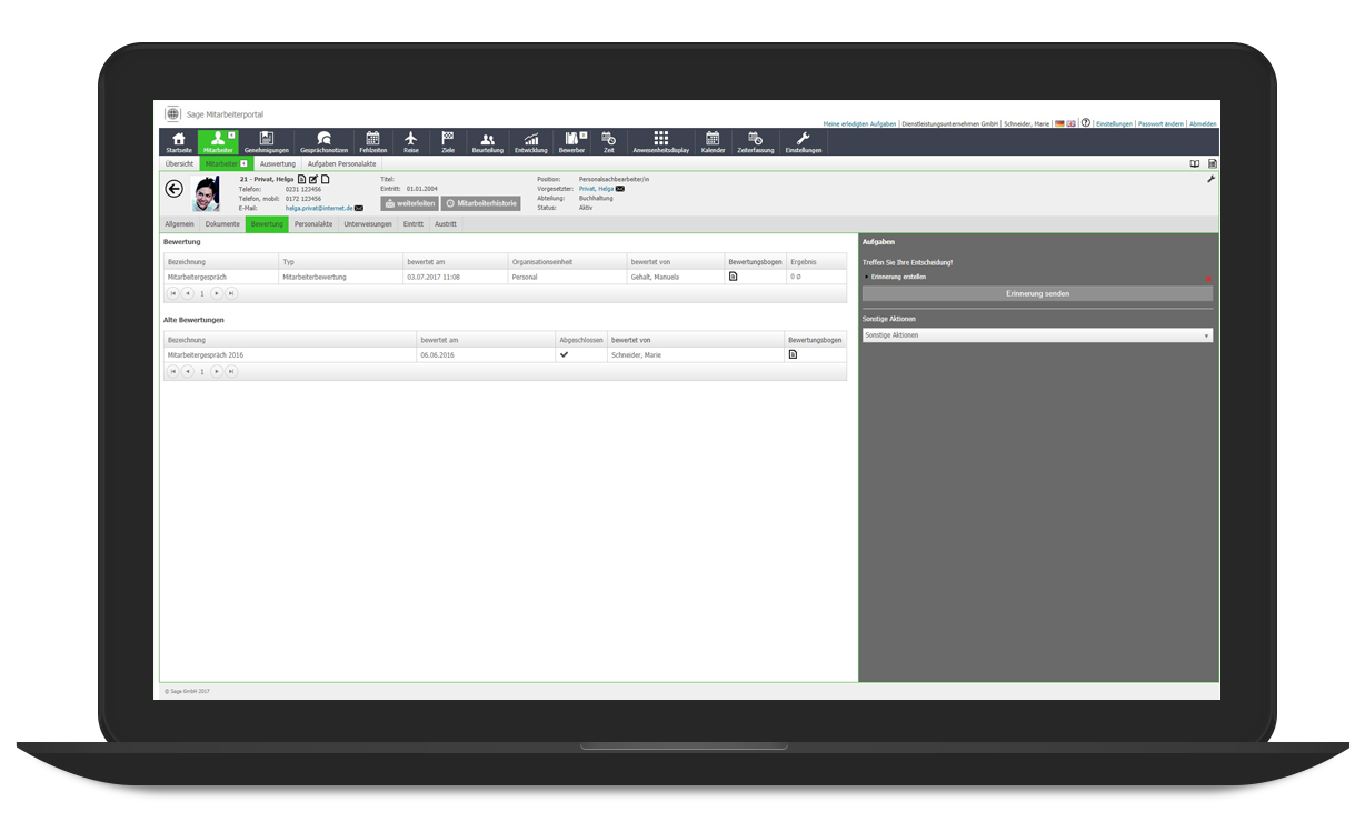 brainsolution Software AG - Sage HR Suite Plus Ziele & Feedback